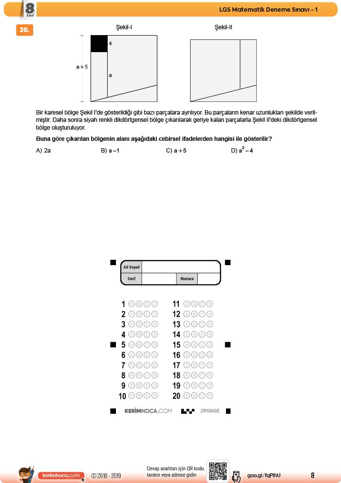 8sınıf Lgs Matematik Deneme Sınavı 1 Yeni Tarz Sorular 2018 2019