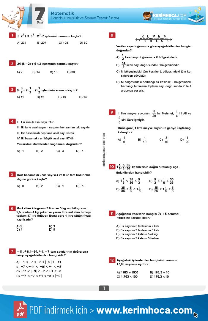 5 6 7 8 Siniflar Matematik Dersi Hazirbulunusluk Ve Seviye Tespit