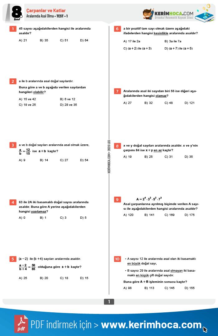 8 Sinif Aralarinda Asal Olma Testler Kerimhoca