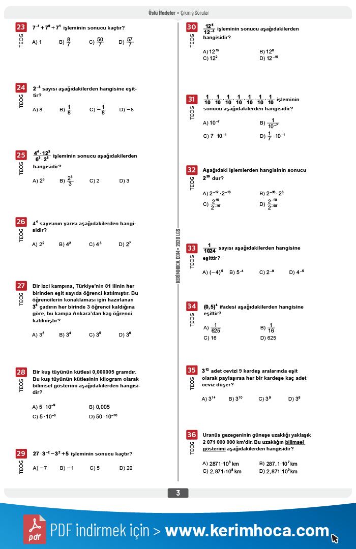 aof cikmis sorular pdf