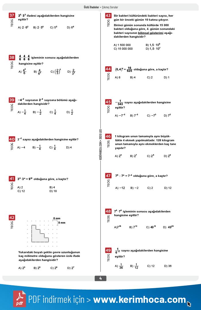 biyoloji 3 çıkmış sorular